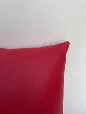 CaSa Vegan Leather Square Pillow in Tomato by Simon Miller - 2