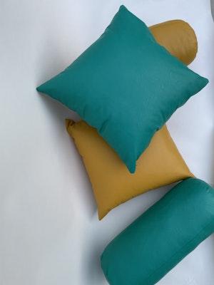 CaSa Vegan Leather Square Pillow in Blue Algae by Simon Miller - 2