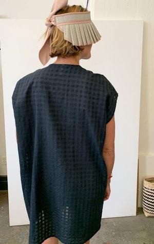 Black Bib Grid pocket tunic-last few by Two - 3