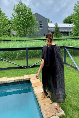 Black sheer caftan with drawstring-last one by Two - 3