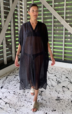 Black sheer caftan with drawstring-last one by Two - 2