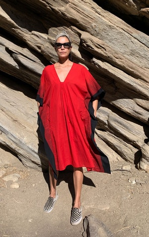 Bright Red soft cotton ikat edge caftan by Two - 5