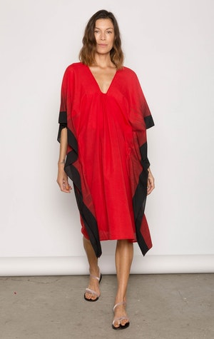 Bright Red soft cotton ikat edge caftan by Two - 2
