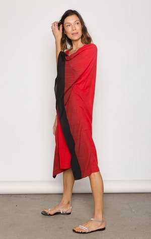 Bright Red soft cotton ikat edge caftan by Two - 3