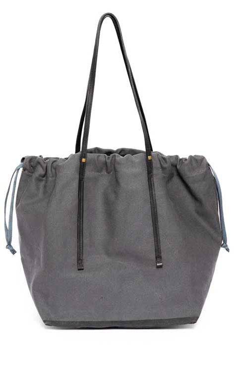 Canvas tote bag with leather strap by Two - 1