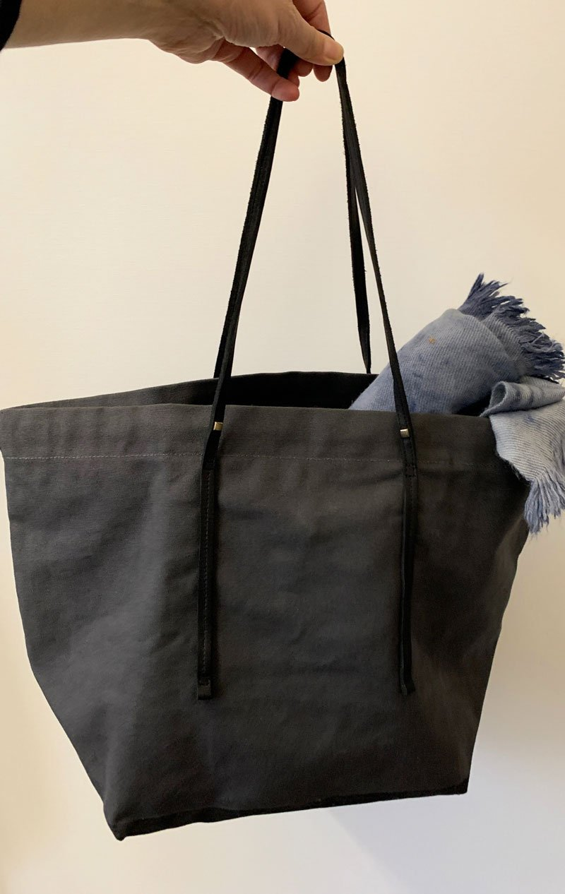 Canvas tote bag with leather strap by Two - 2
