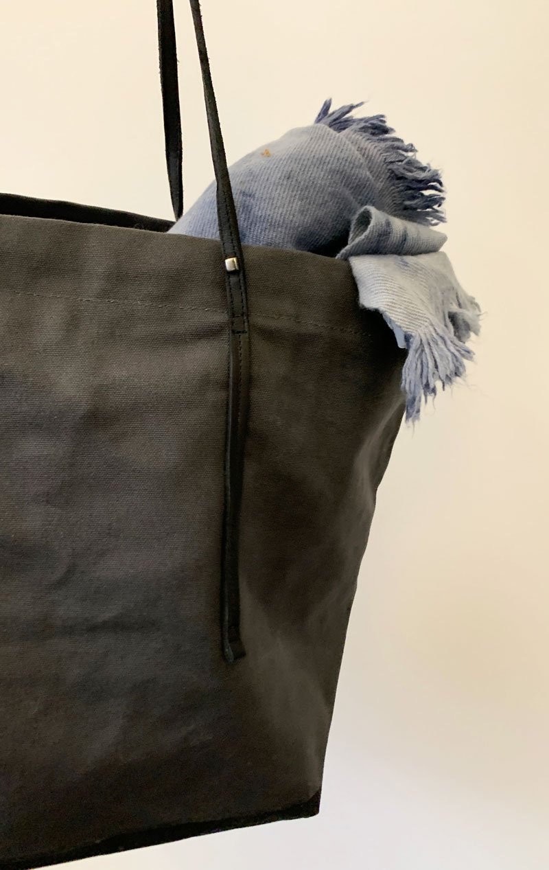 Canvas tote bag with leather strap by Two - 3