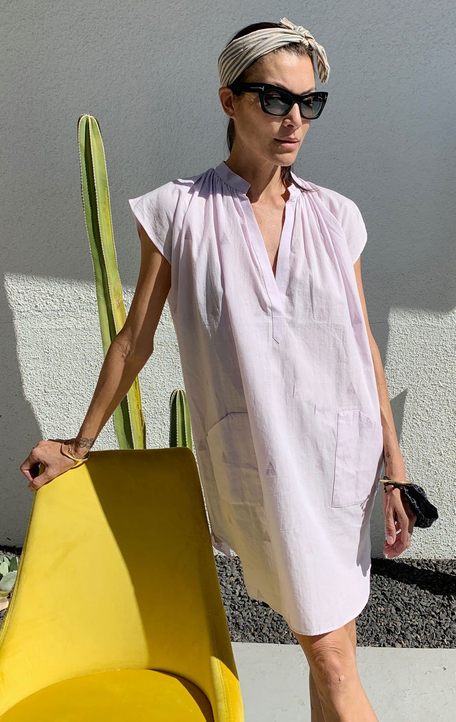 Lavender khadi Pocket Tunic with handwoven triangle detail by Two - 1