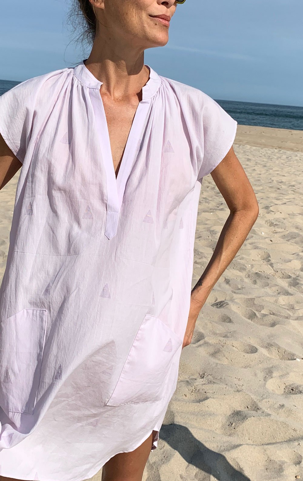 Lavender khadi Pocket Tunic with handwoven triangle detail by Two - 2