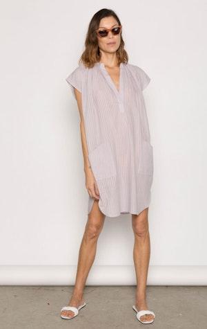 Lavender Khadi stripe Pocket Tunic by Two - 3