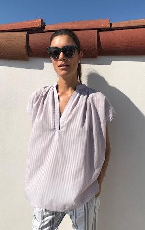 Lavender Khadi Stripe Shirt by Two - 3