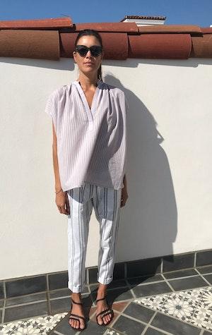 Lavender Khadi Stripe Shirt by Two - 4