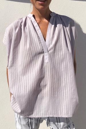 Lavender Khadi Stripe Shirt by Two - 2