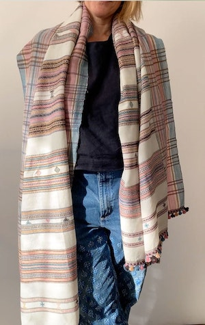 Rose and cream wool scarf by Two - 4