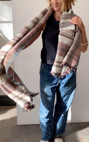 Rose and cream wool scarf by Two - 5