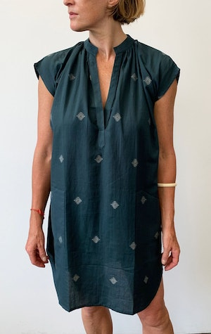Teal khadi Pocket Tunic with handwoven motif by Two - 3