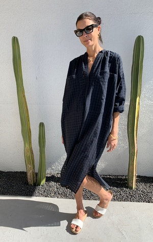 Two Pocket caftan in black grid by Two - 3