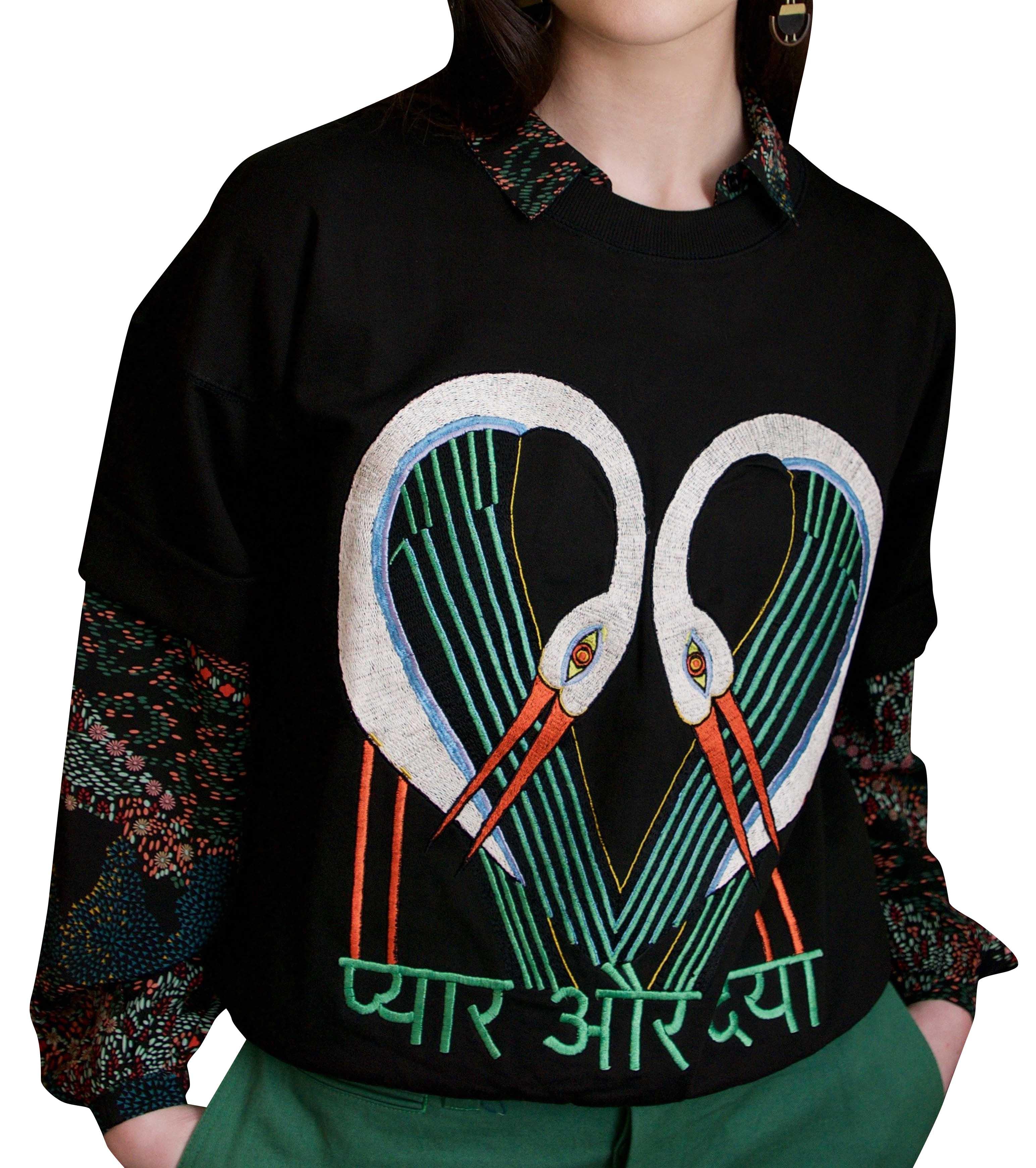 Short Sleeve sweatshirt Black storks by Tallulah & Hope - 1