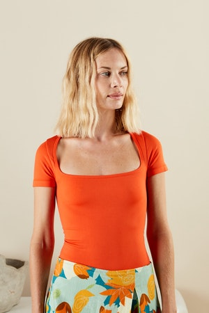STRETCH Eero Bodysuit in Coral by Simon Miller - 2