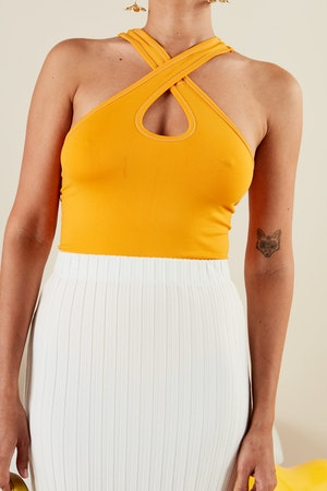 STRETCH Keao Bodysuit in Sunset Orange by Simon Miller - 2