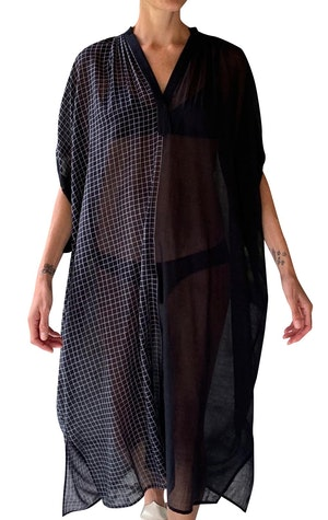 Black sheer caftan with drawstring-last one by Two - 1