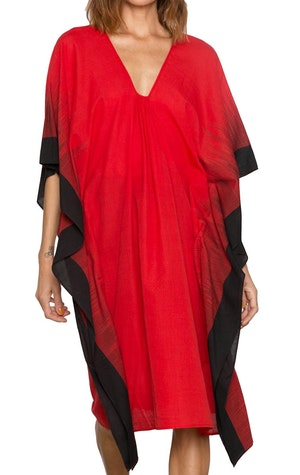 Bright Red soft cotton ikat edge caftan by Two - 1