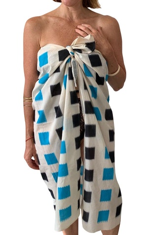 Ikat sarong with color block by Two - 1
