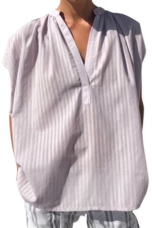 Lavender Khadi Stripe Shirt by Two - 1