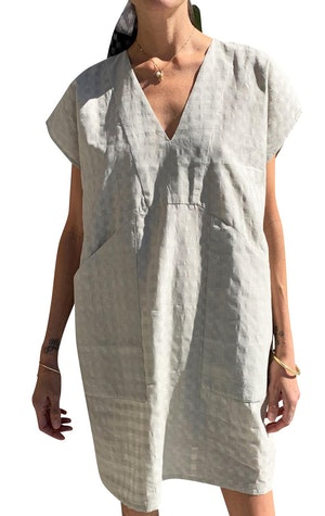 Putty grey Bib Grid pocket tunic by Two - 1