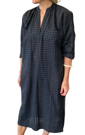Two Pocket caftan in black grid by Two - 1