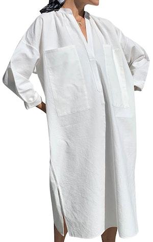 White Khadi Two Pocket caftan by Two - 1