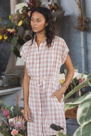 Astrid Easy Dress BLUSH CHECK by Trovata - 2