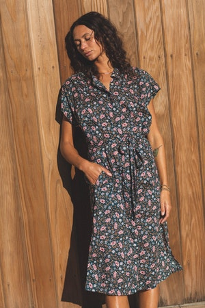 Astrid Easy Dress TEAL FLORAL by Trovata - 2