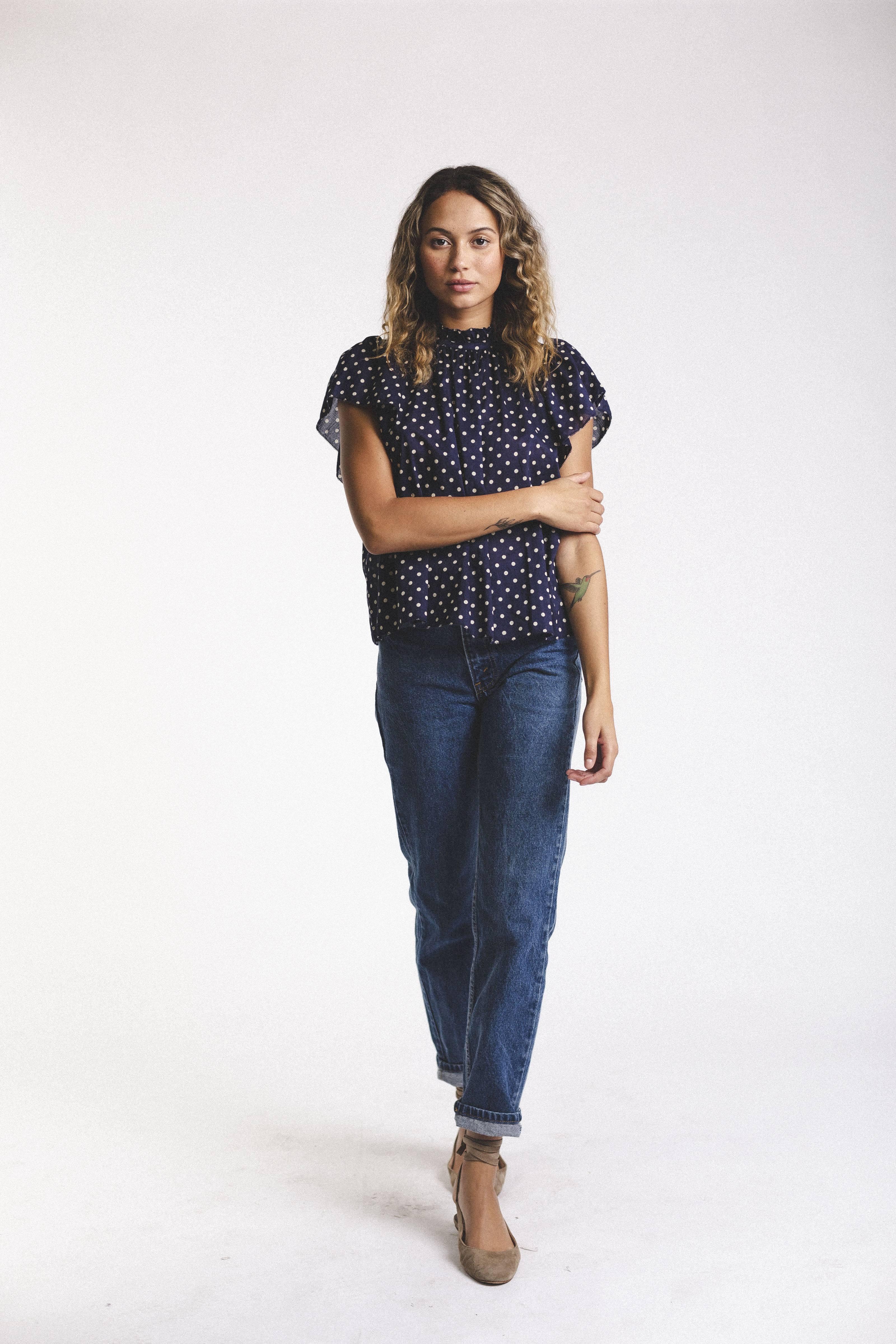 Carla Highneck Shirt NAVY DOT by Trovata - 2