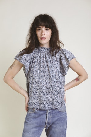Carla Highneck Shirt NAVY FLORAL by Trovata - 2