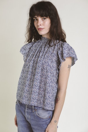 Carla Highneck Shirt NAVY FLORAL by Trovata - 3