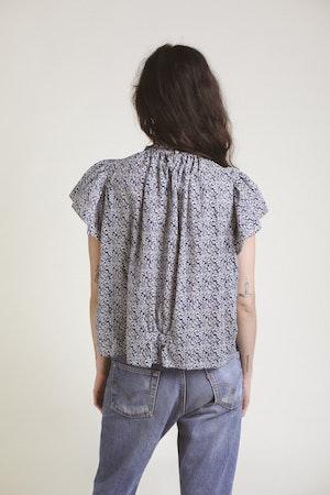 Carla Highneck Shirt NAVY FLORAL by Trovata - 4