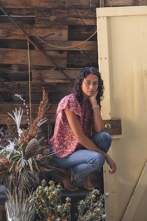 Carla Highneck Shirt ROSE FLORAL by Trovata - 3