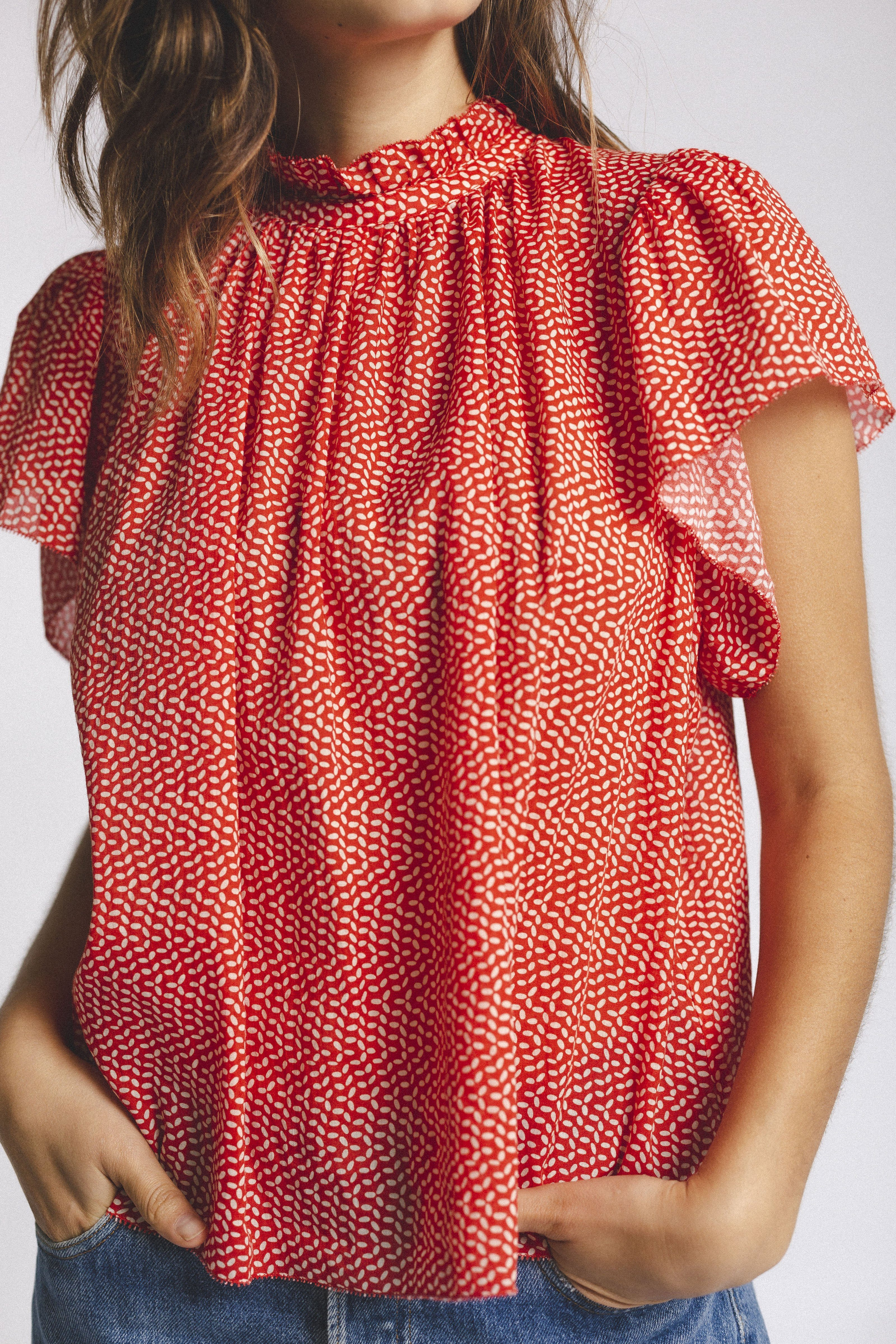 Carla Highneck Shirt TOMATO SEED by Trovata - 1