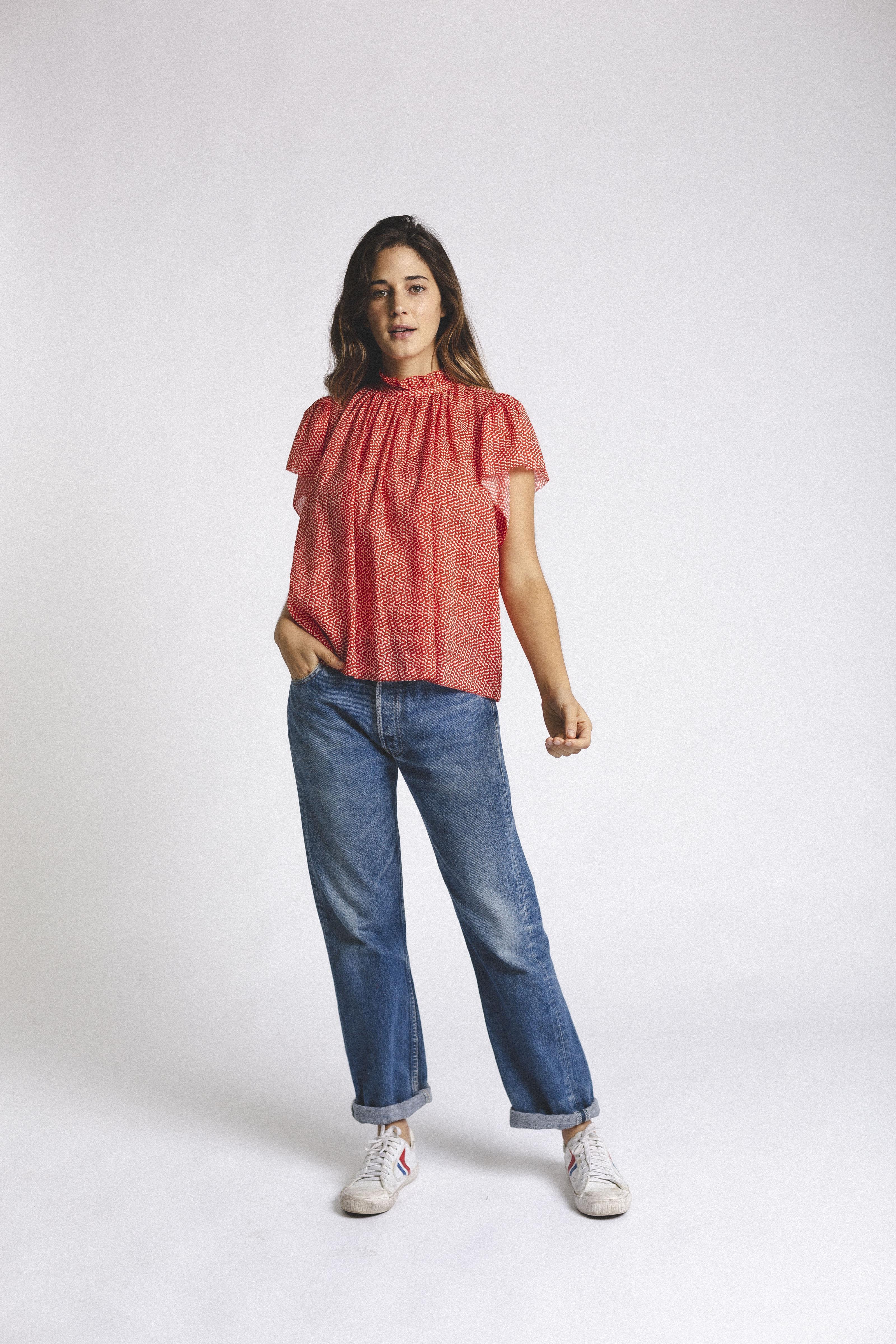 Carla Highneck Shirt TOMATO SEED by Trovata - 3