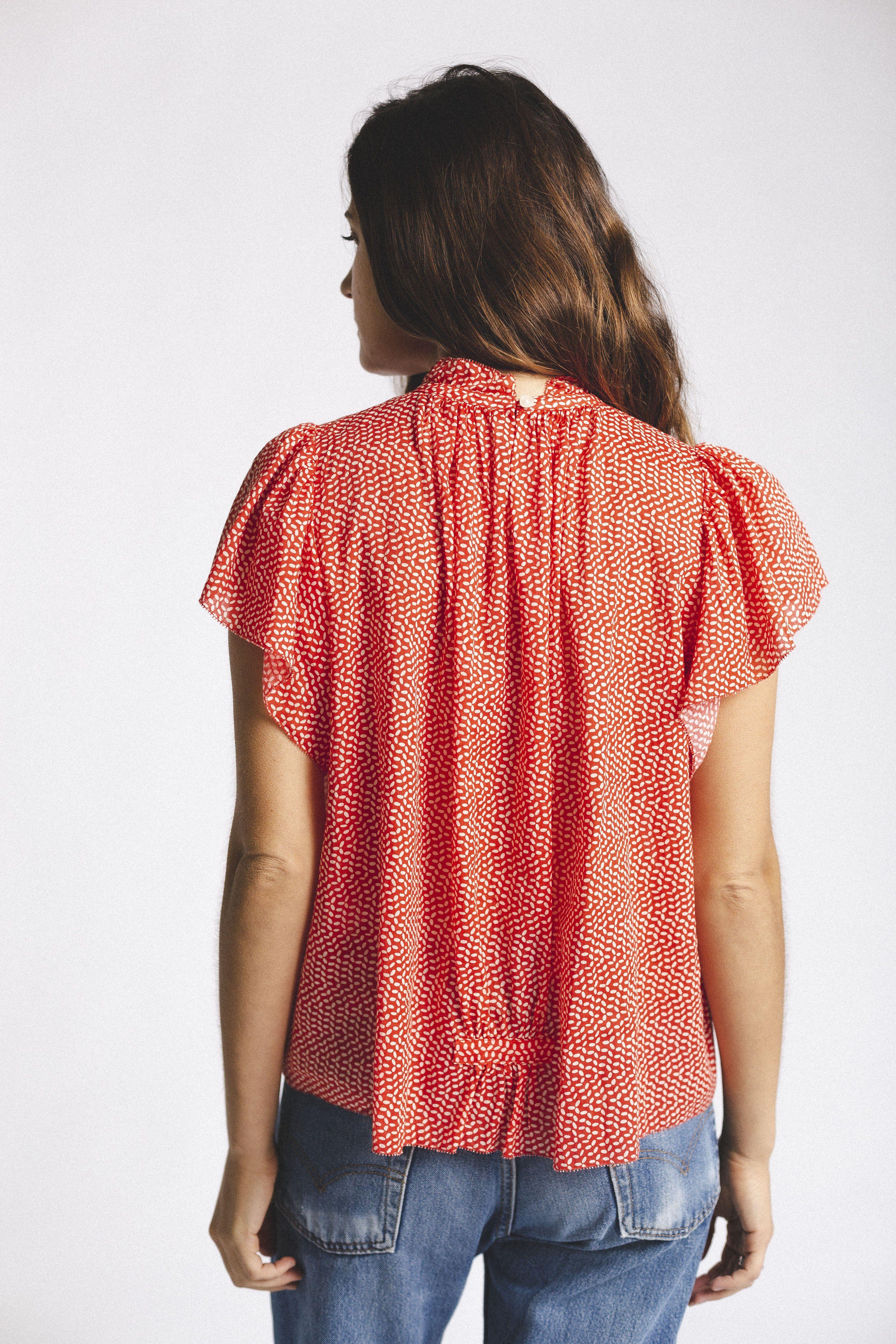 Carla Highneck Shirt TOMATO SEED by Trovata - 2
