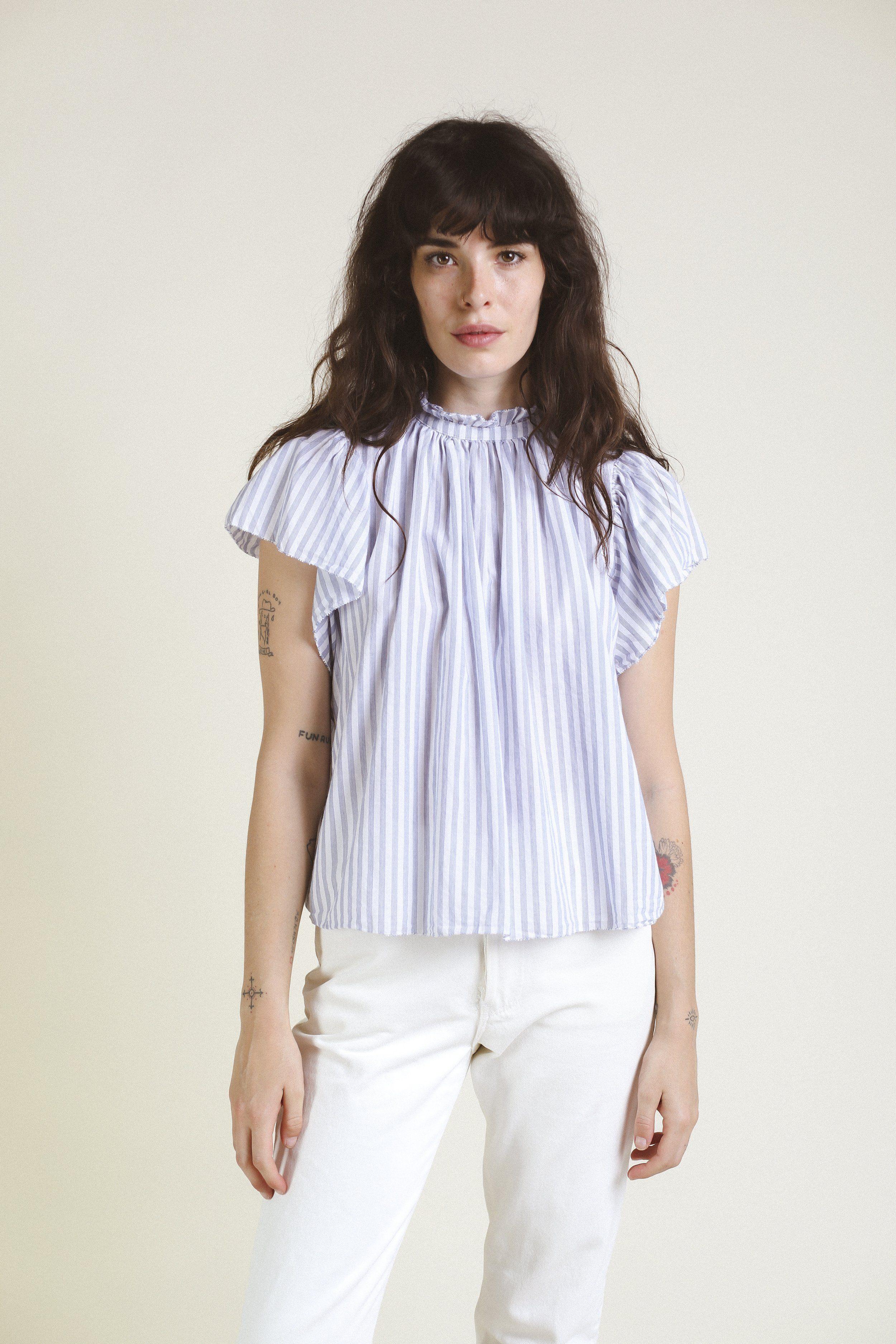 Carla Highneck Shirt WHITE/BLUE STRIPE by Trovata - 3