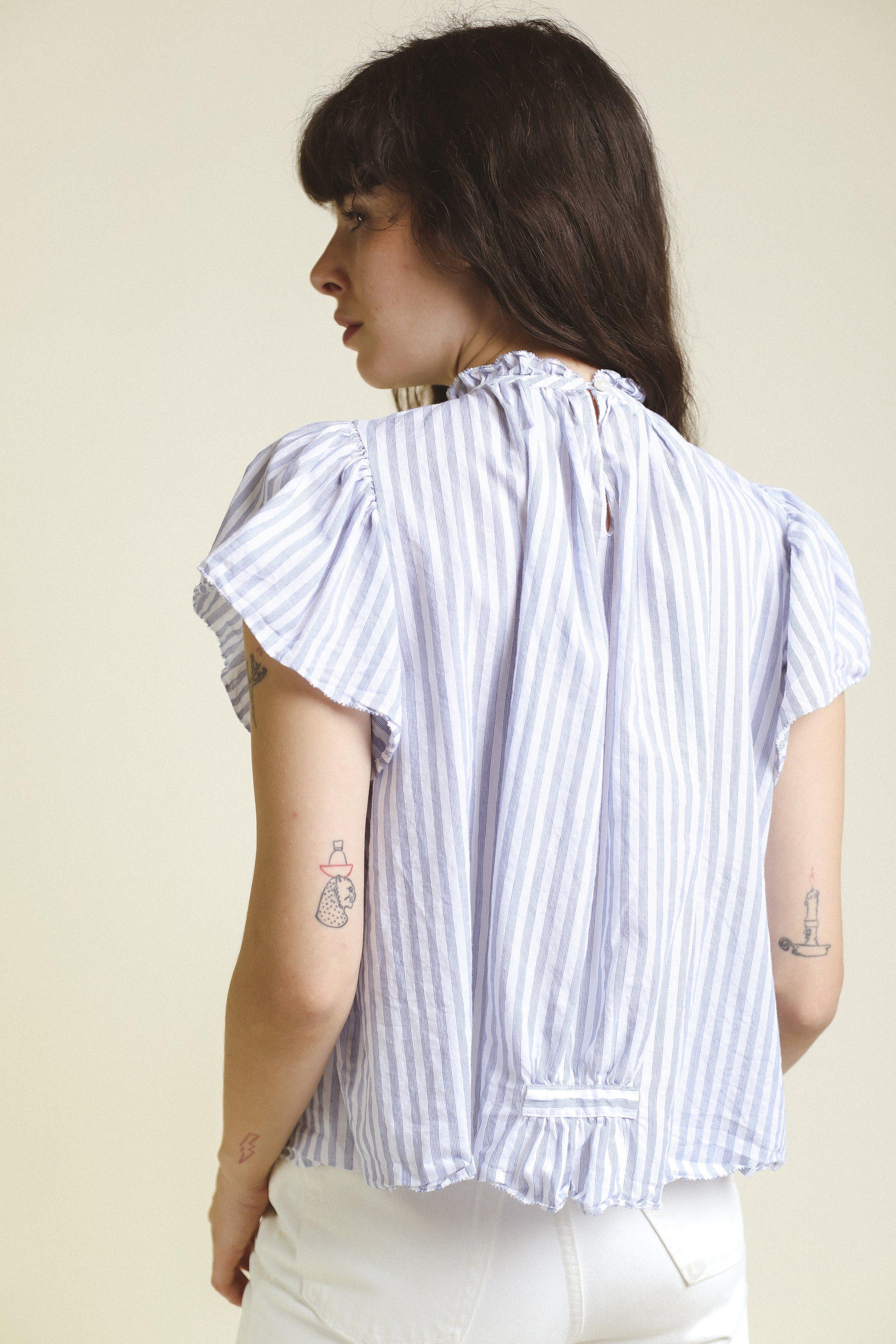 Carla Highneck Shirt WHITE/BLUE STRIPE by Trovata - 2