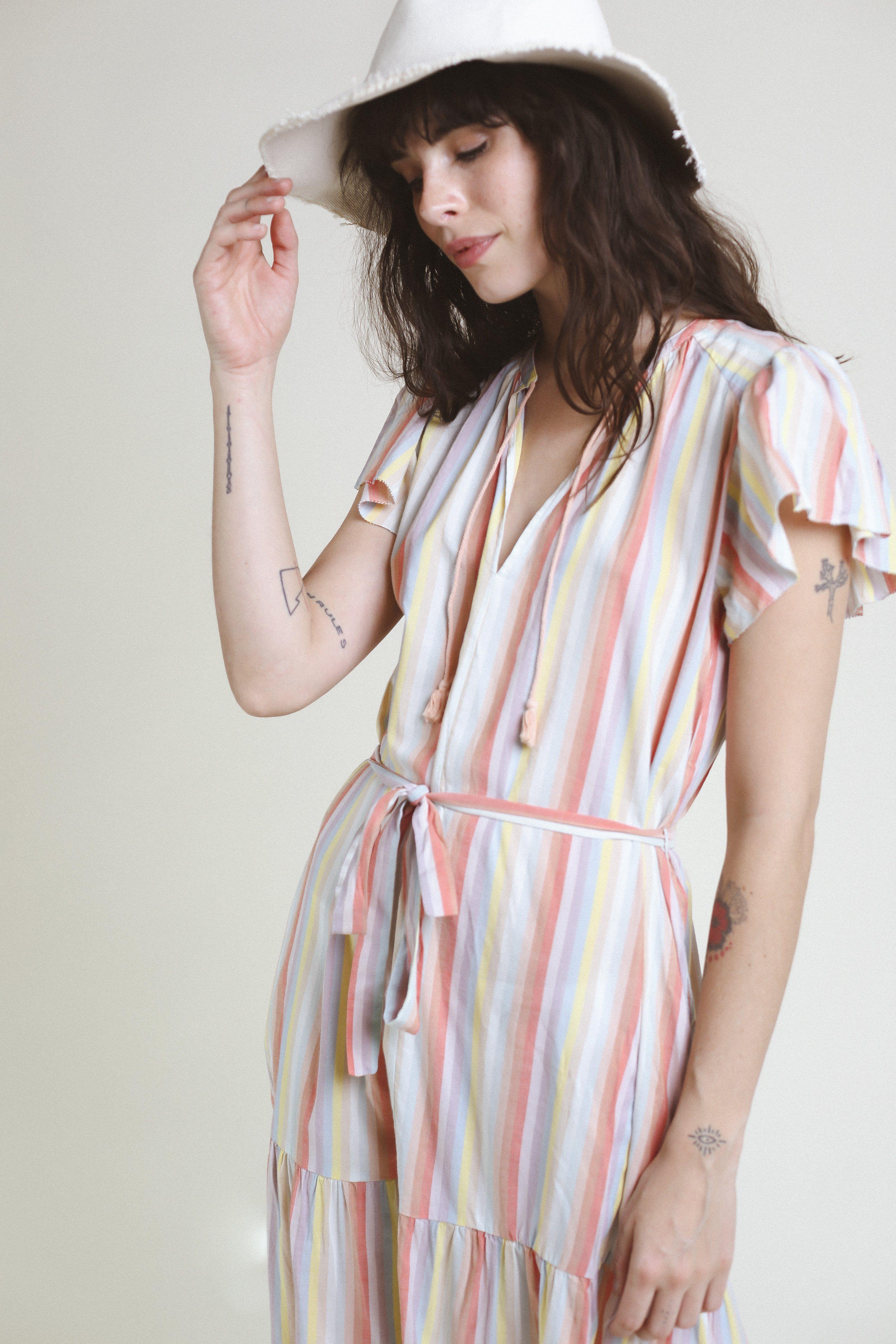 Emery S/S Bohemian Dress RAINBOW STRIPE by Trovata - 3