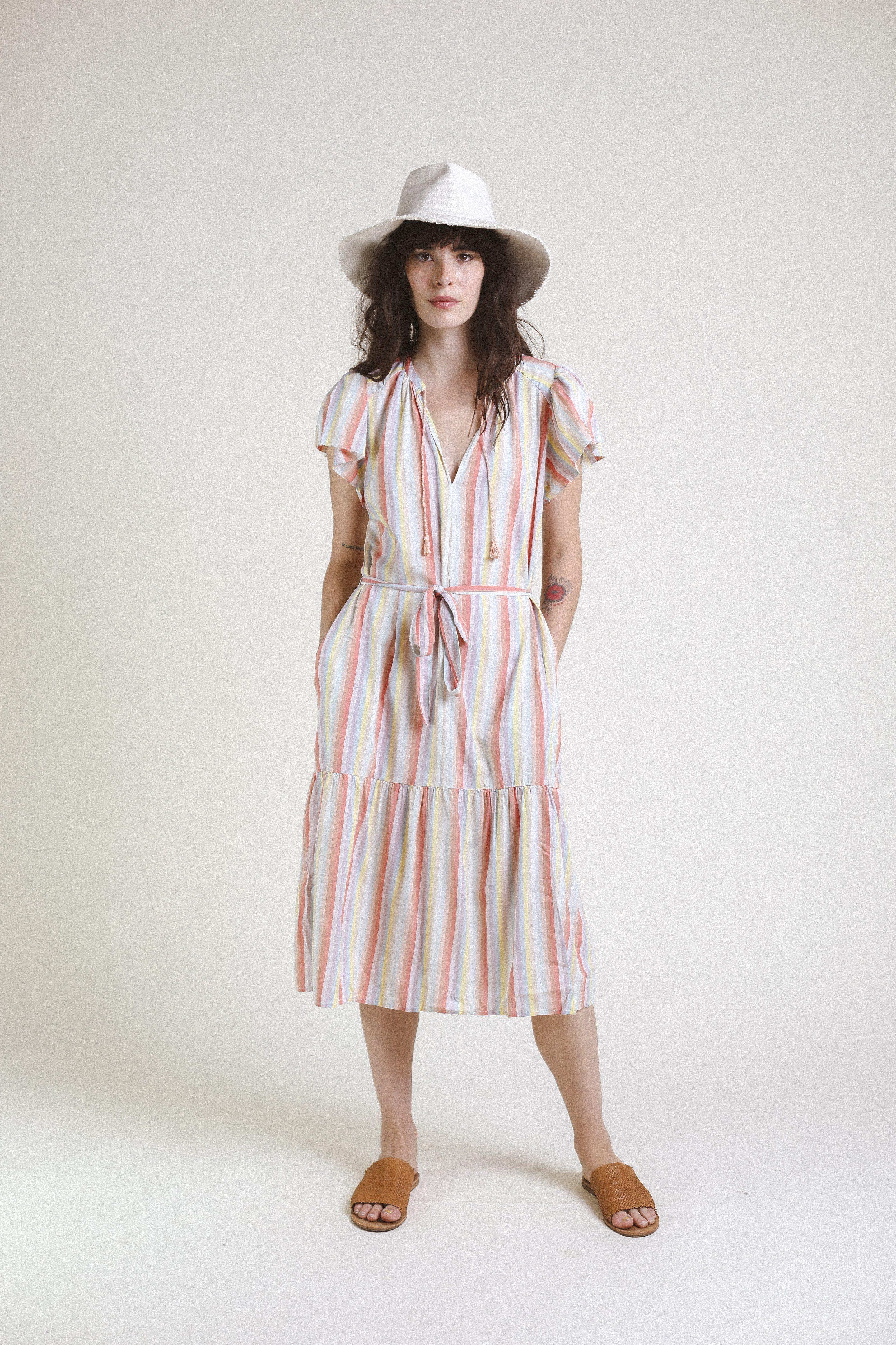 Emery S/S Bohemian Dress RAINBOW STRIPE by Trovata - 1