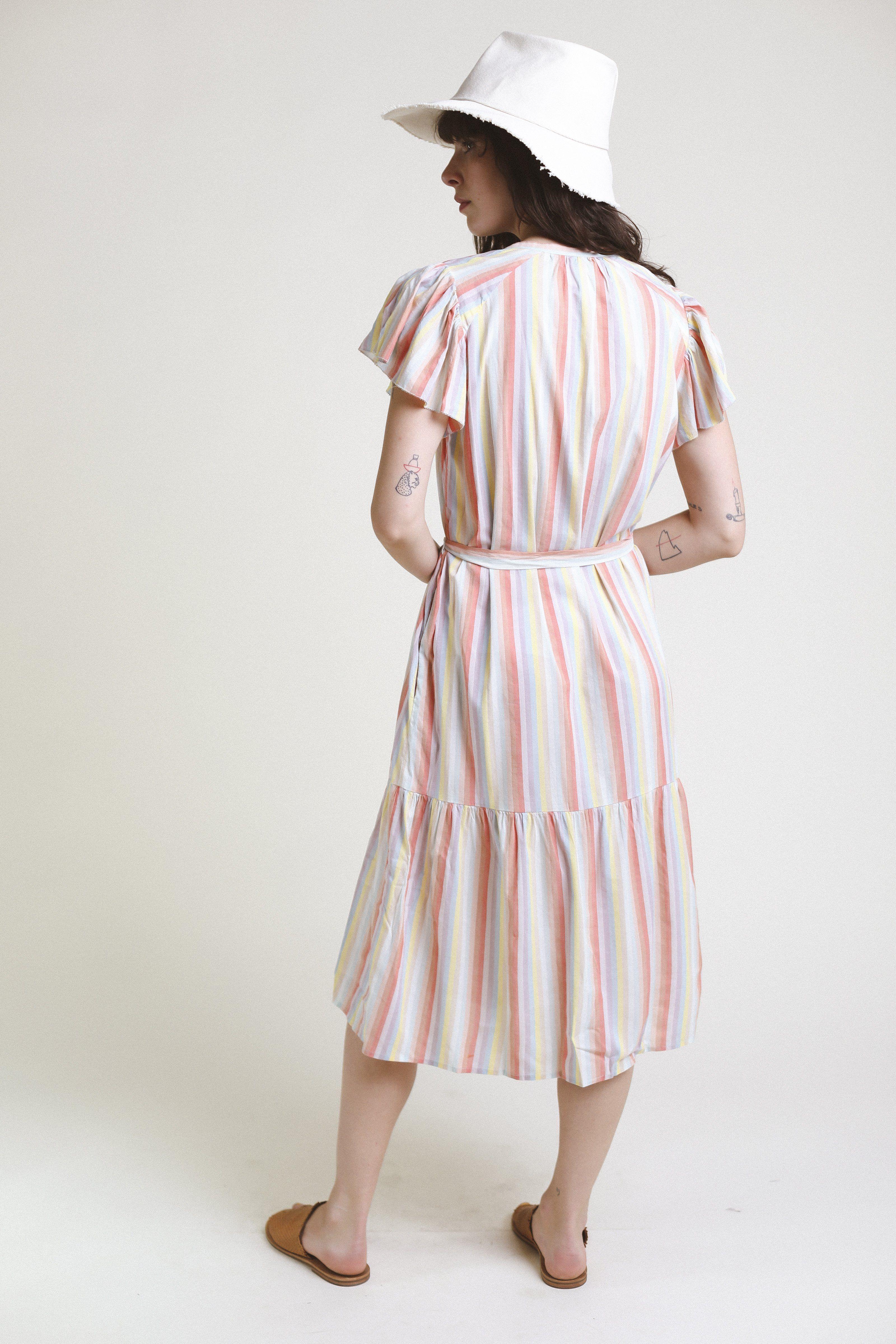 Emery S/S Bohemian Dress RAINBOW STRIPE by Trovata - 2