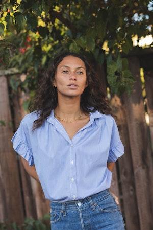 Marianne B Ruffle Sleeve Shirt BLUE/WHITE STRIPE by Trovata - 3