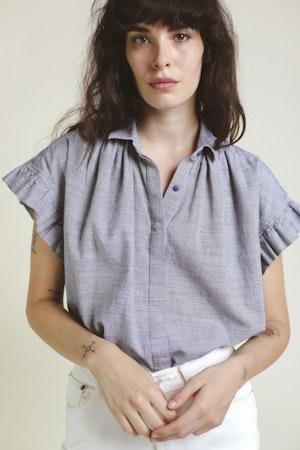 Marianne Ruffle Shirt NAVY MINI HNDSTOOTH by Trovata - 3