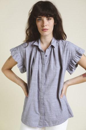 Marianne Ruffle Shirt NAVY MINI HNDSTOOTH by Trovata - 2