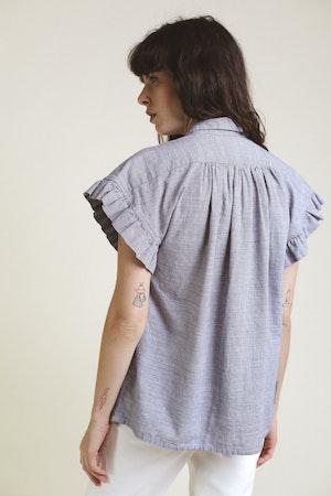 Marianne Ruffle Shirt NAVY MINI HNDSTOOTH by Trovata - 4